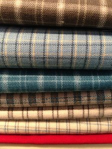 Brody's mom  picked the fabrics- a fab collection of woven plaids, with a little pop, of course!