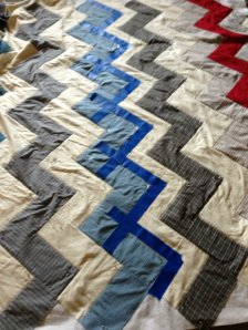 Marking for quilting- I used blue painter's tape to mark the straight lines I wanted to quilt.