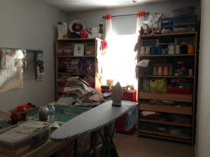 As the saying goes, some people call it an empty nest, others call it a new sewing studio!  Our son recently left home to serve a two-year mission in Brazil for the Church of Jesus Christ of Latter-day Saints.  Before he left, he helped me move the bunk beds out of the sewing studio.  We shifted a few things around, and it is starting to improve.  Still a terrible mess, but at least I could run the vacuum!