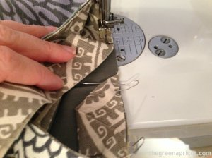 Stop here to gauge how much farther to sew