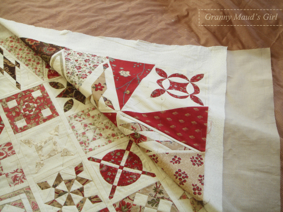 Dear Jane quilt basted before quilting